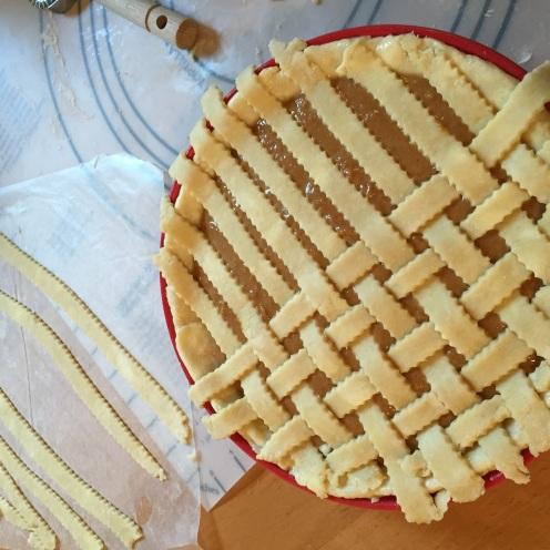 Same apple butter pumpkin pie with a tight-ish lattice top crust
