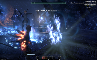 Nuking some Dremora to save Lyris's butt while she works the juju
