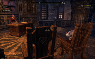 """Li'l Spot got nicknamed """"Chairman Meow"""" for this, keeping watch while I looted the Wayrest bank"""