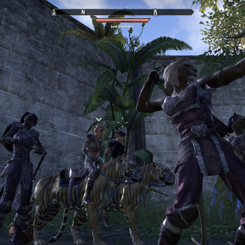 Xena and Gabrielle as cat-mounted cavalry, ready to charge after the Khajiiti archers lose the first volley